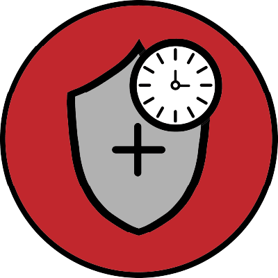 persistent protection icon- shield with clock