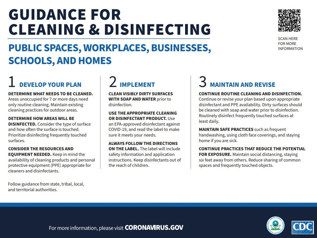 information sheet from the CDC on cleaning and disinfecting. Click to view PDF