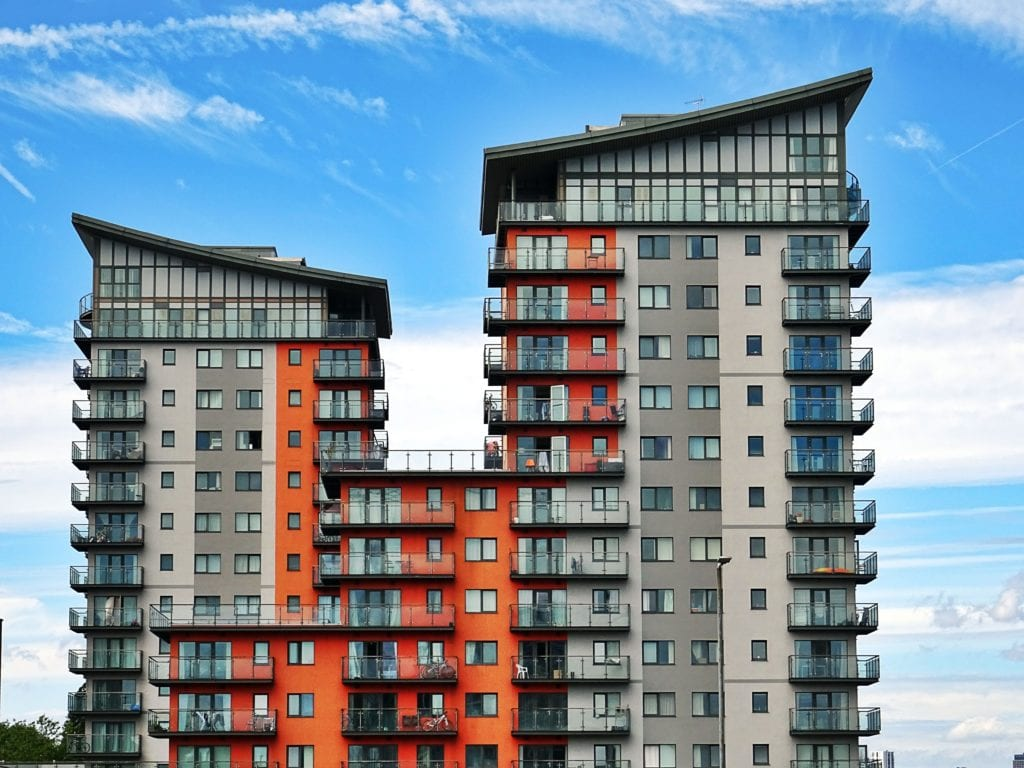 appartment building with blue sky